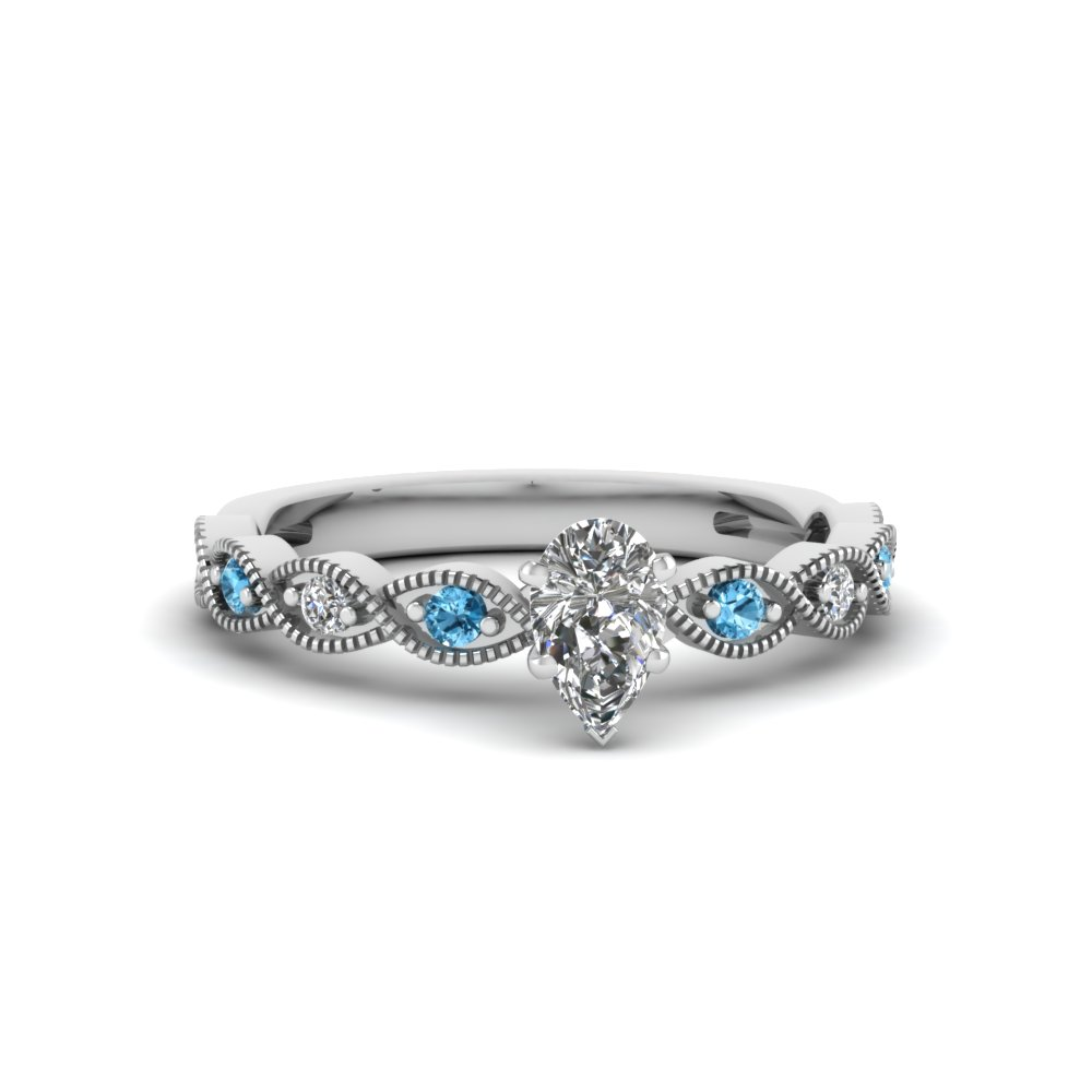 pear shaped twisted vintage diamond engagement ring with blue topaz in 950 Platinum FDENS3052PERGICBLTO NL WG
