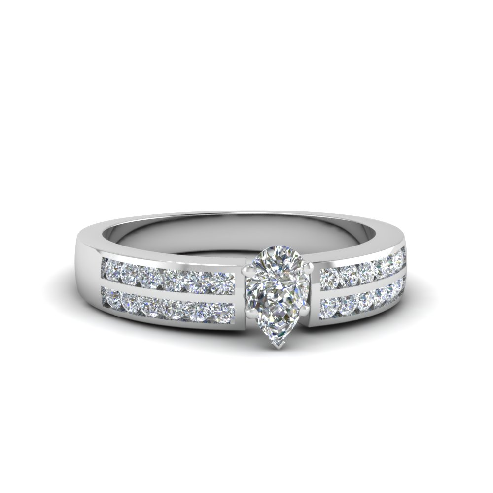 two row channel diamond pear shaped engagement ring in FDENS3119PER NL WG