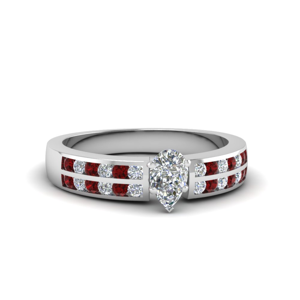 pear shaped two row channel diamond ring with ruby in 18K white gold FDENS3119PERGRUDR NL WG