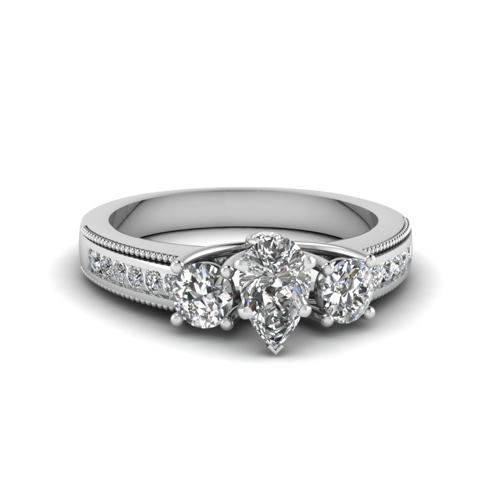 pear shaped u prong 3 stone milgrain diamond ring in FDENR7325PER NL WG