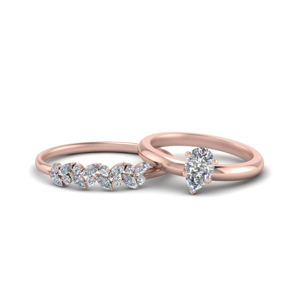 18k Rose Gold Pear Shaped Wedding Sets