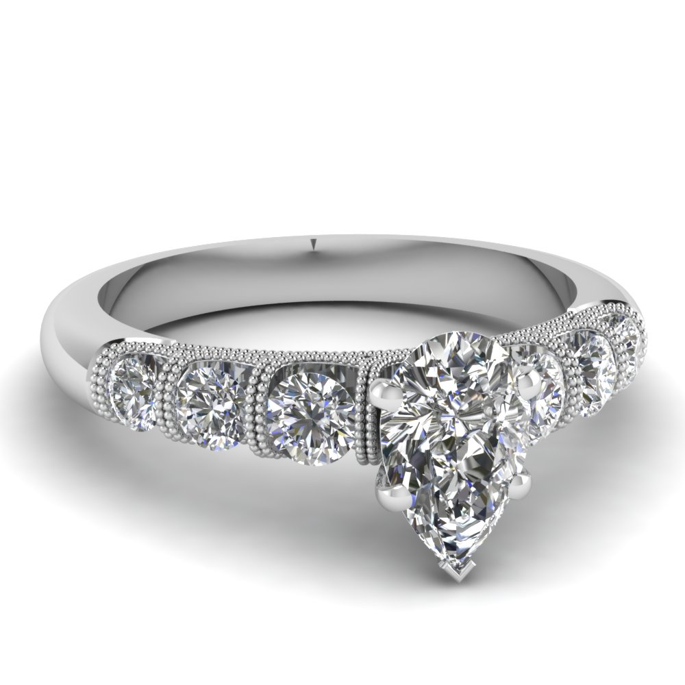 Unusual U Prong Diamond Ring