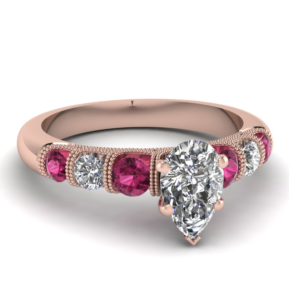pear shaped unusual u prong diamond vintage engagement ring with pink sapphire in FDENS1783PERGSADRPI NL RG