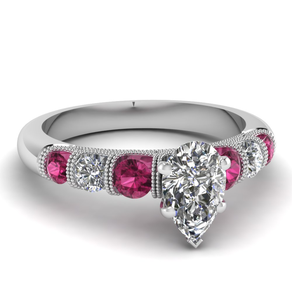 pear shaped unusual u prong diamond vintage engagement ring with pink sapphire in FDENS1783PERGSADRPI NL WG