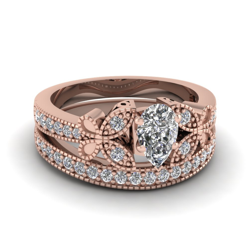 Pear Shaped Diamond Wedding Ring Sets With White Diamond In 18k Rose Gold