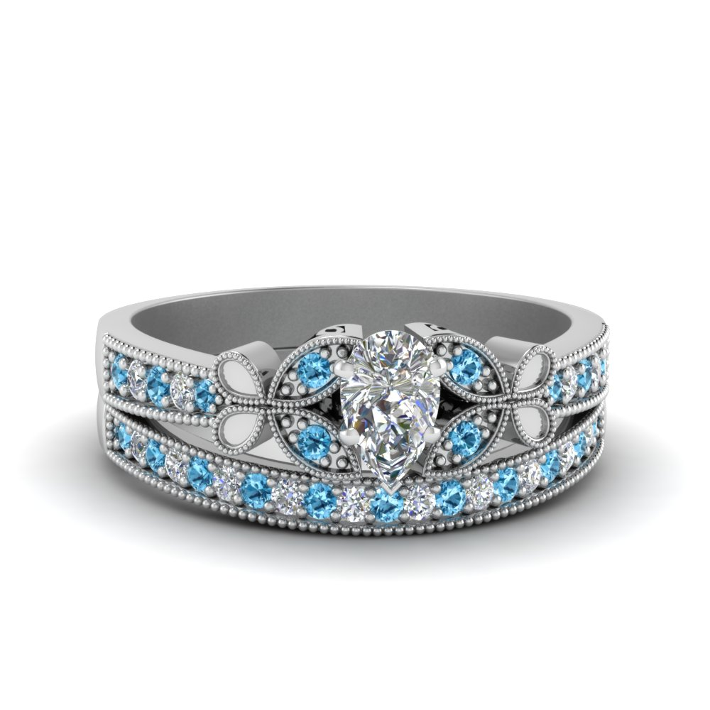 vintage butterfly pear diamond engagement ring set with blue topaz in FDENS3077PEGICBLTO NL WG