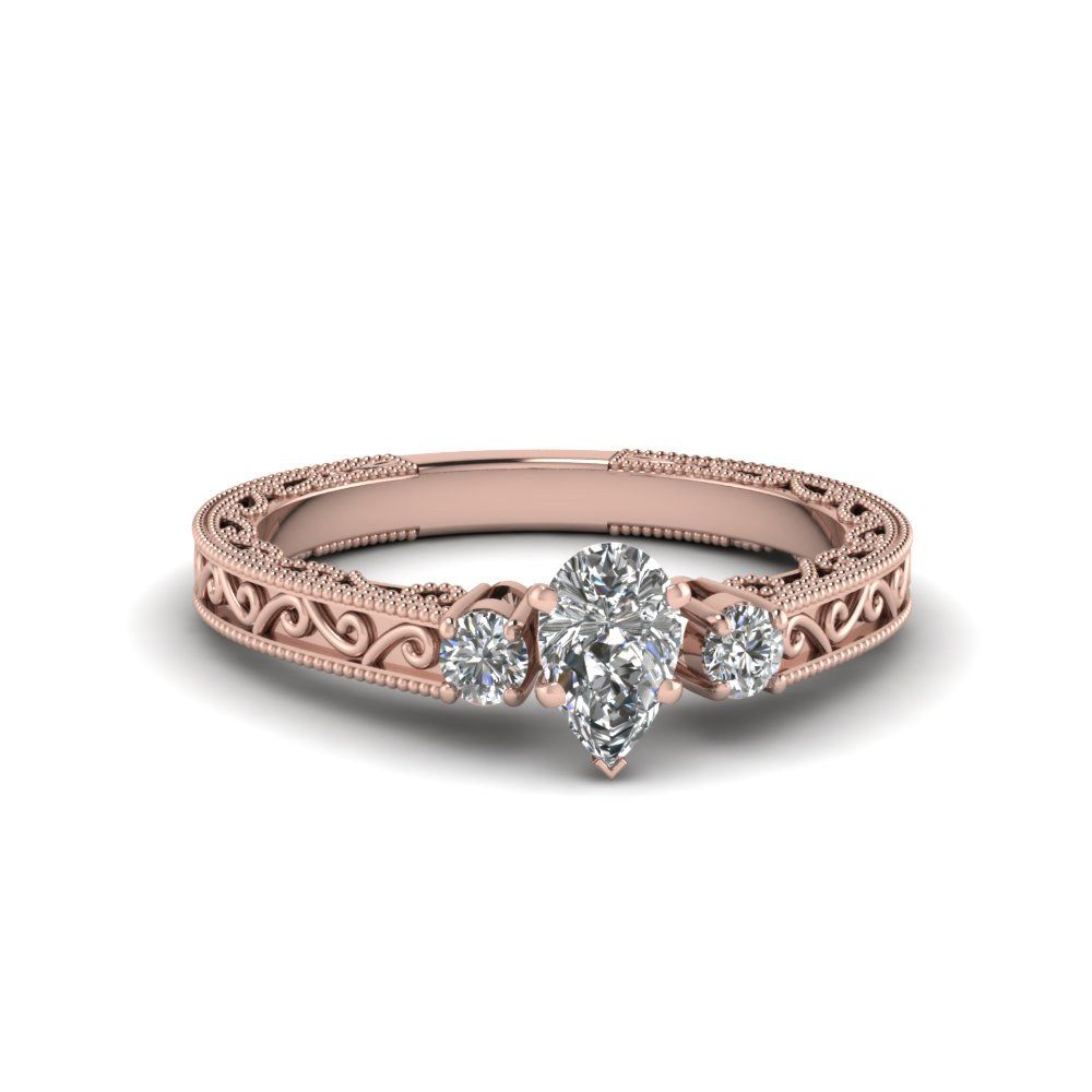 Pear Shaped Vintage Style 3 Stone Wedding Ring