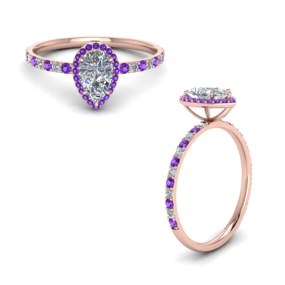 pear shaped violet topaz halo diamond engagement ring in FD8513PERGVITOANGLE1 NL RG