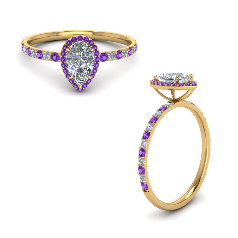 pear shaped violet topaz halo diamond engagement ring in FD8513PERGVITOANGLE1 NL YG