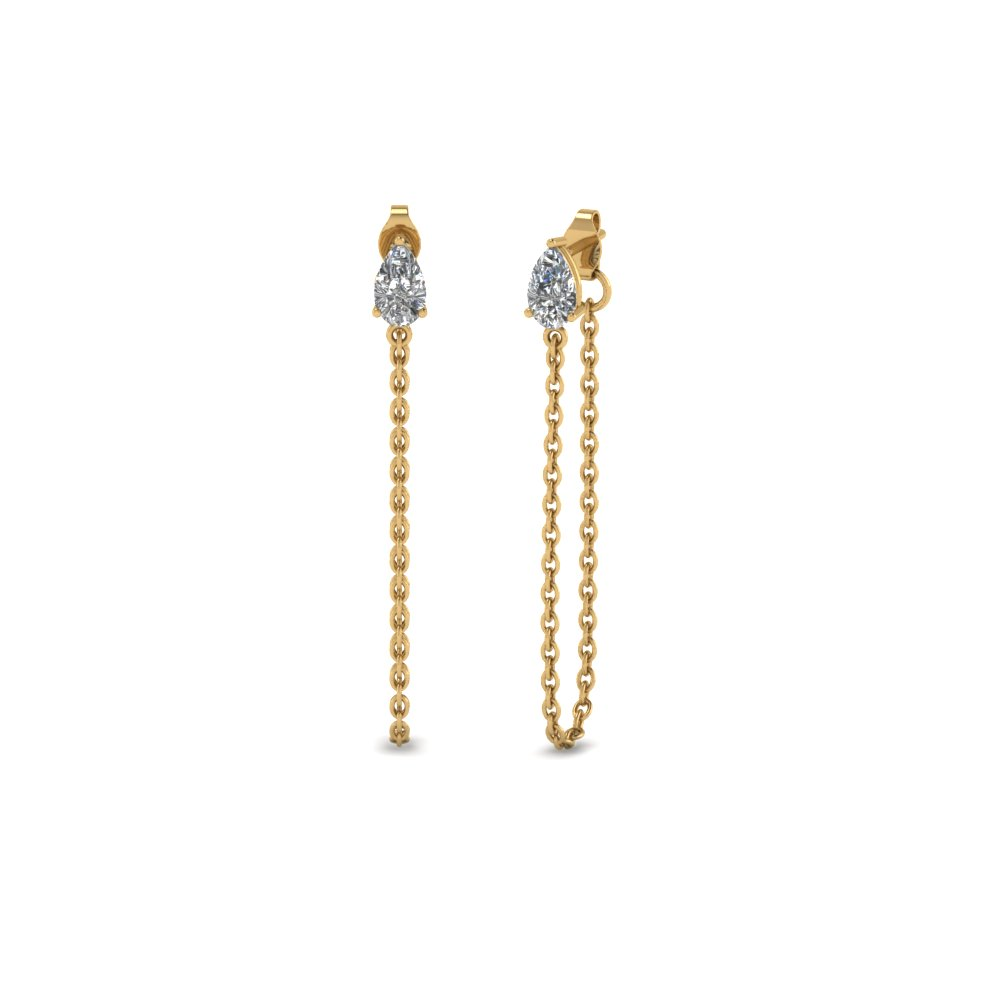 pear stud chain drop earring in 18K yellow gold FDEAR8201 NL YG