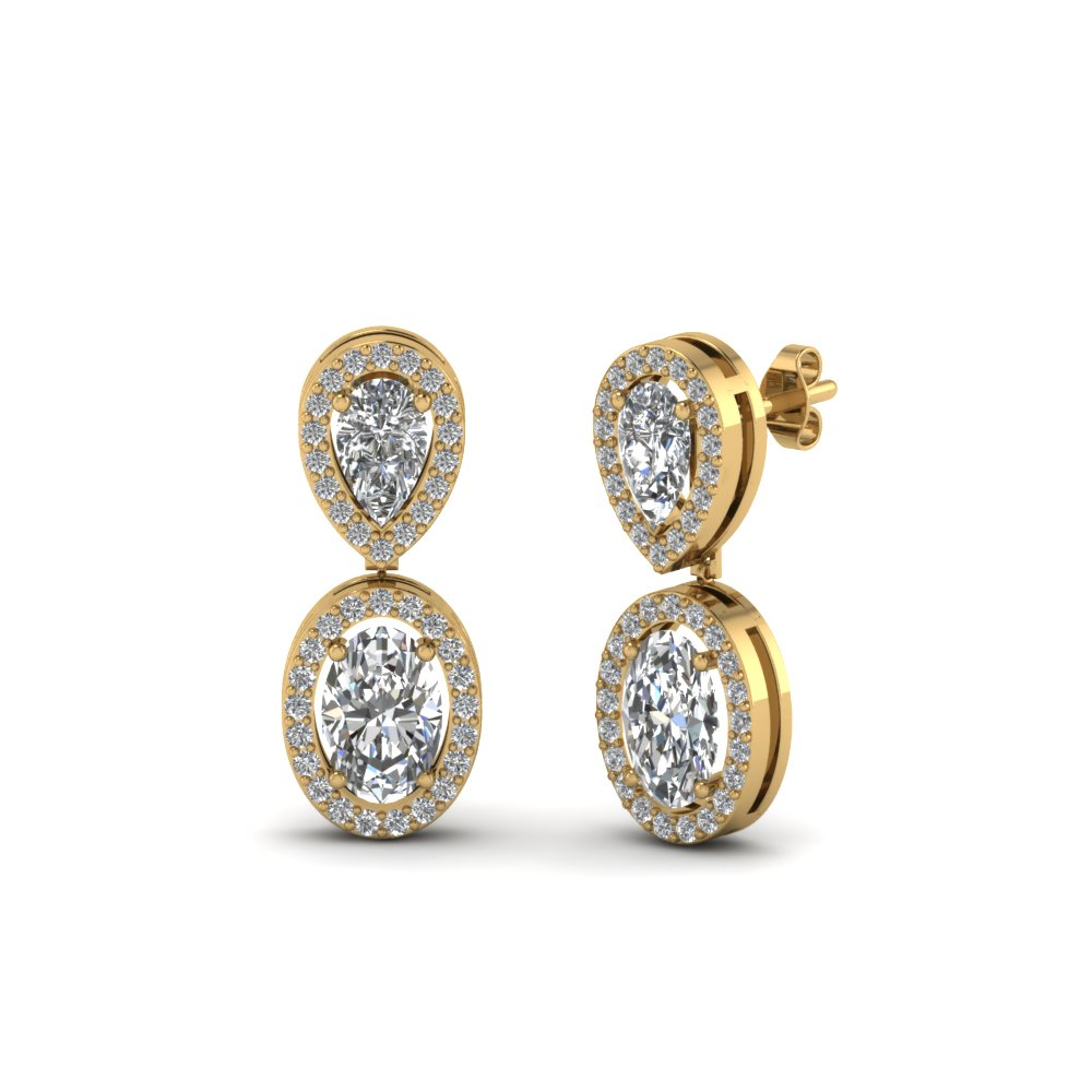 Pear Stud With Oval Halo Diamond Earring