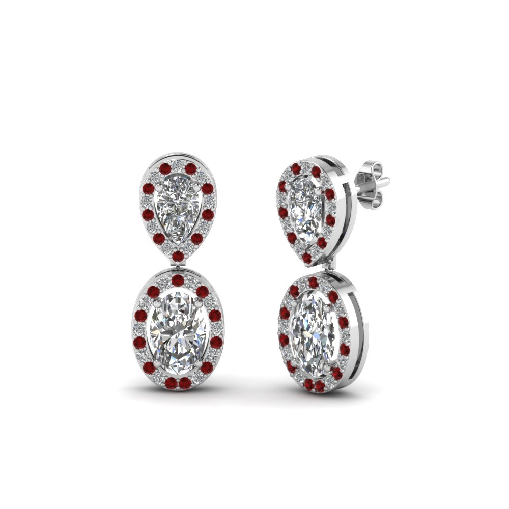 pear stud and oval halo diamond earring with ruby in 18K white gold FDEAR8200GRUDR NL WG