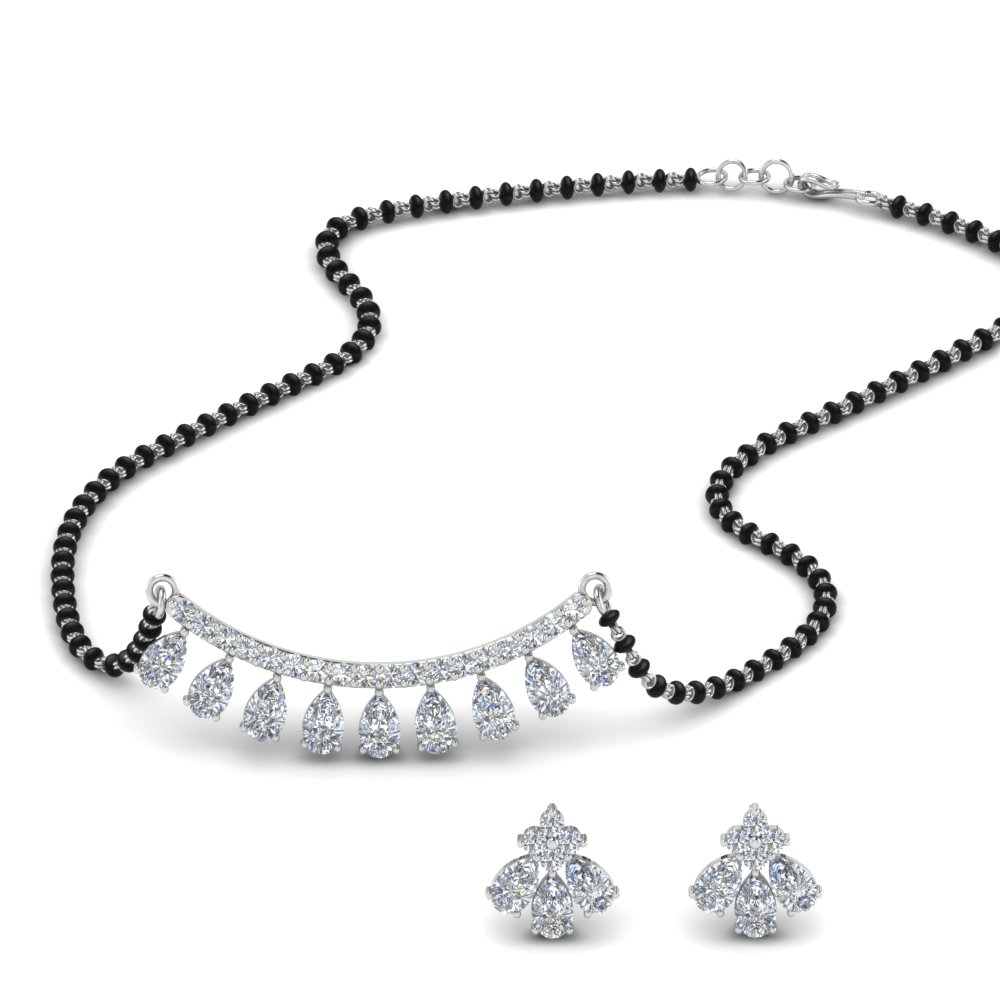 Teardrop Diamond Mangalsutra Set