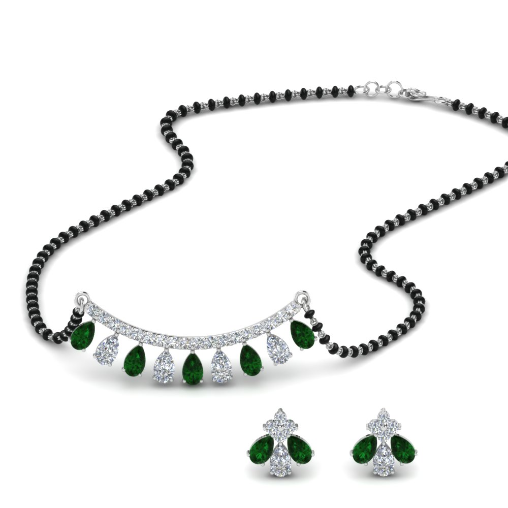 Emerald Peardrop Diamond Mangalsutra Set