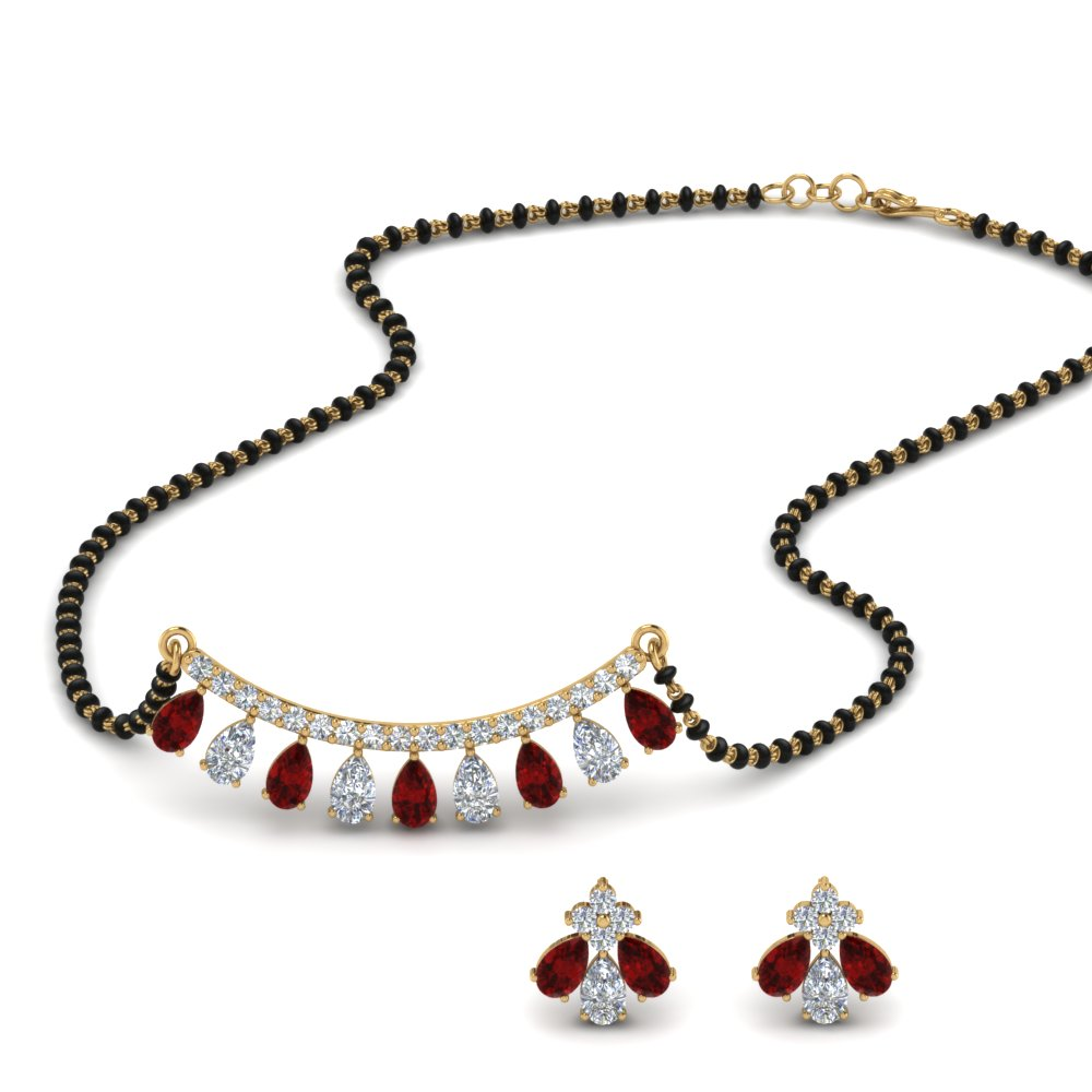 Peardrop July Birthstone Mangalsutra Set