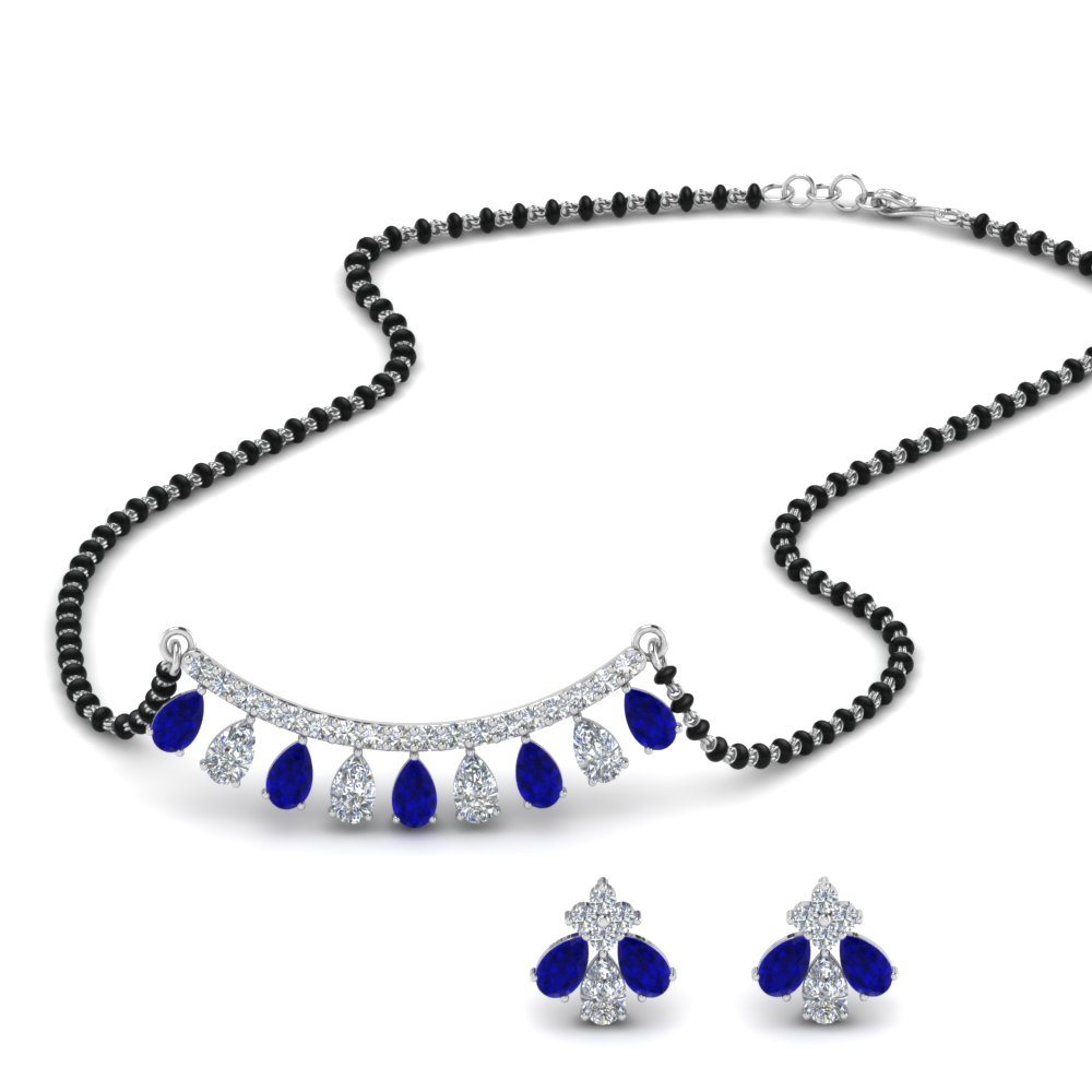 18K White Gold Diamond Mangalsutra Set