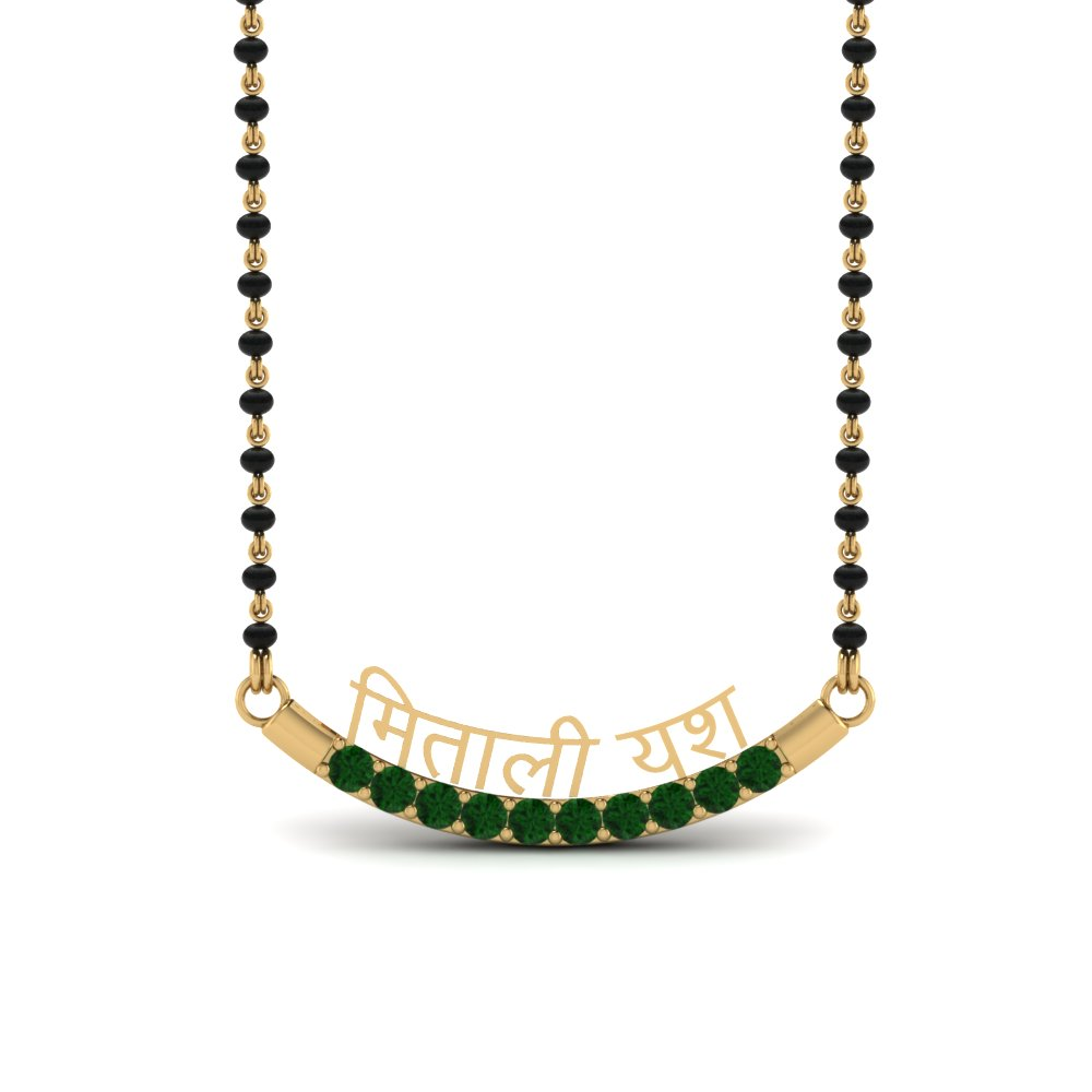 Emerald Personalised Mangalsutra With Names