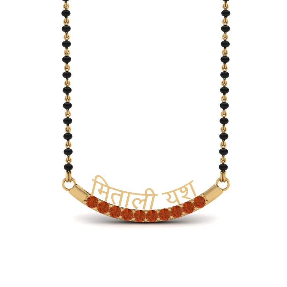 Orange Sapphire Mangalsutra With Names