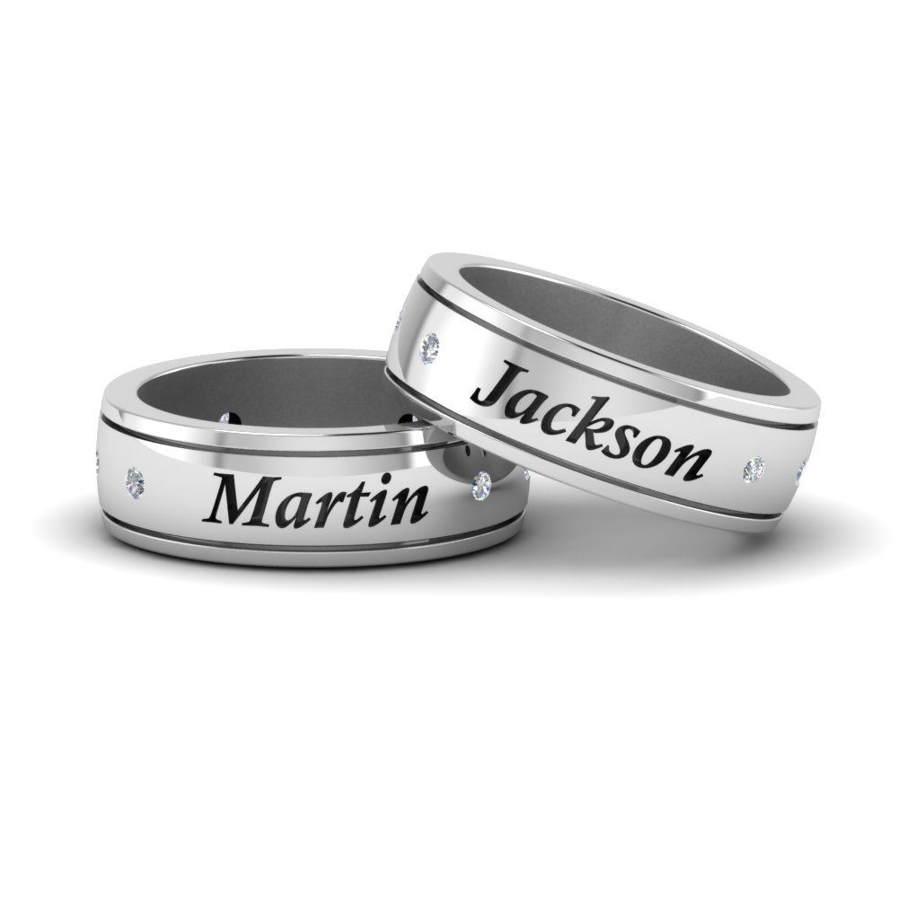 Personalized Gay Wedding Band With Diamonds In 14K White Gold