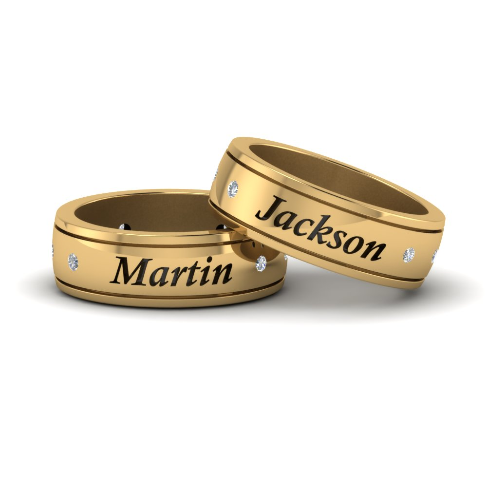Personalized Gay Wedding Band With Diamonds In 14K Yellow Gold