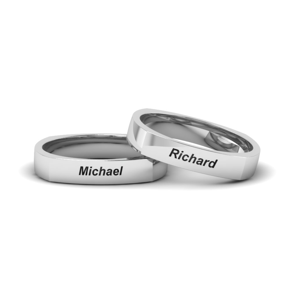 personalized gay wedding rings in FDLGSQR7B 4MM NL WG