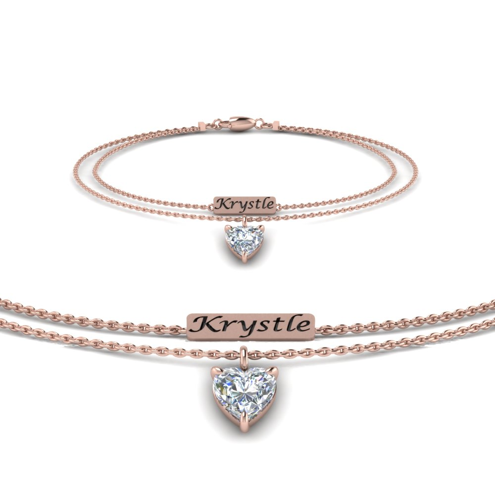 personalized heart diamond bracelet in FDBRC8695 NL RG