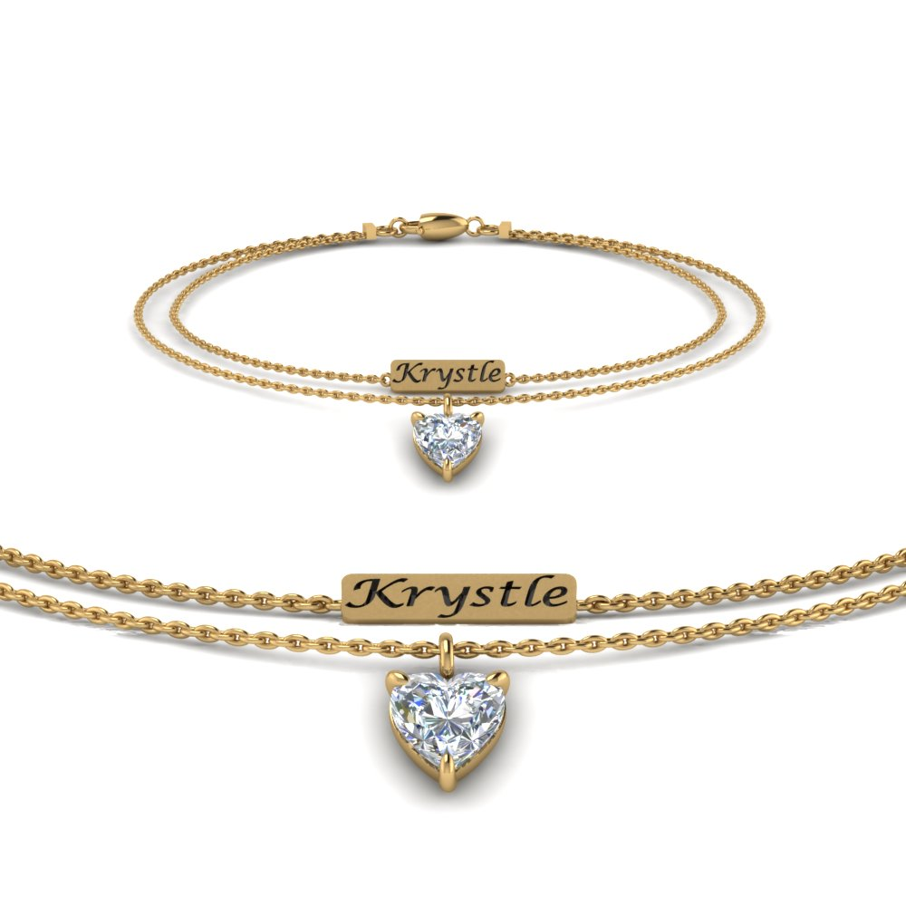 personalized heart diamond bracelet in FDBRC8695 NL YG