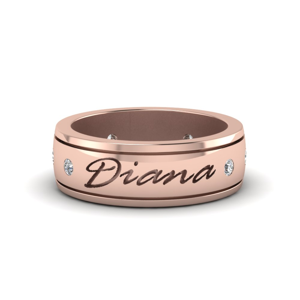 Cheap Engraved Mens Wedding Band Pink Gold