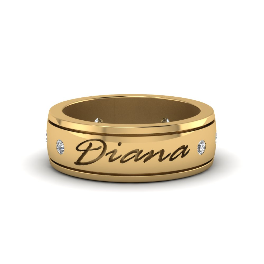 Mens Engraved Yellow Gold Wedding Band