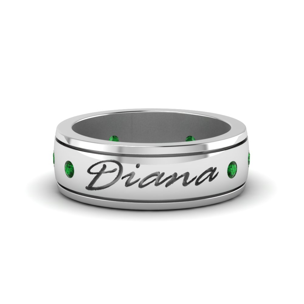 personalized mens 6.0mm diamond band with emerald in FD8298BGEMGR NL WG
