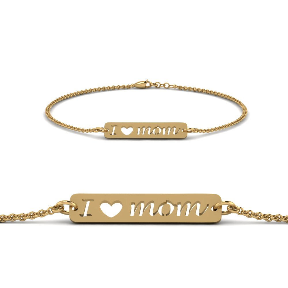 Yellow Gold Mom Engraved Bracelet