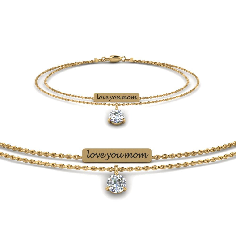 personalized mom diamond bracelet in FDBRC8683MD NL YG