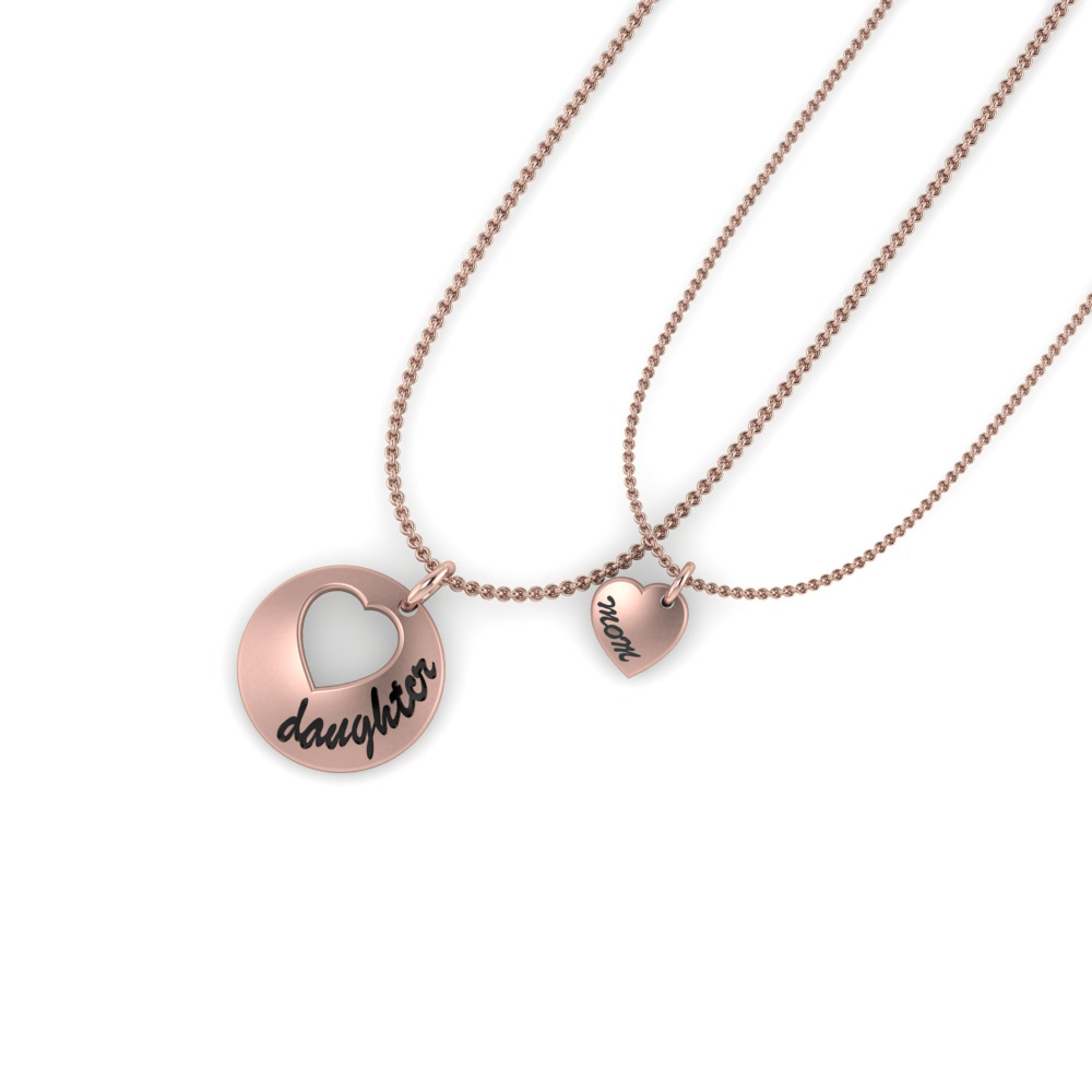 personalized necklace for mother and daughter in 18k rose gold