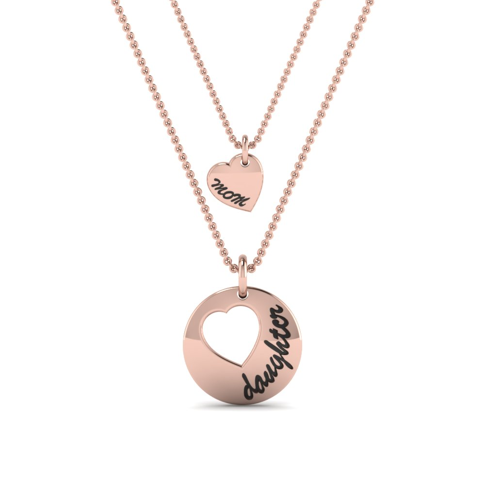personalized necklace for mother and daughter in 14K rose gold FDPD8697MDANGLE2 NL RG