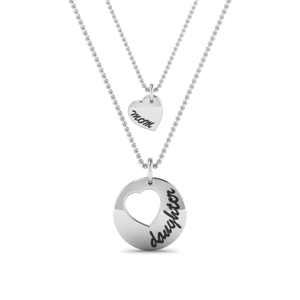 personalized necklace for mother and daughter in 18k white gold