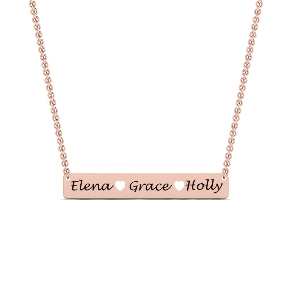 gold necklace rose ori gift engraved custom silver details filled name her pendant personalized sterling for bar