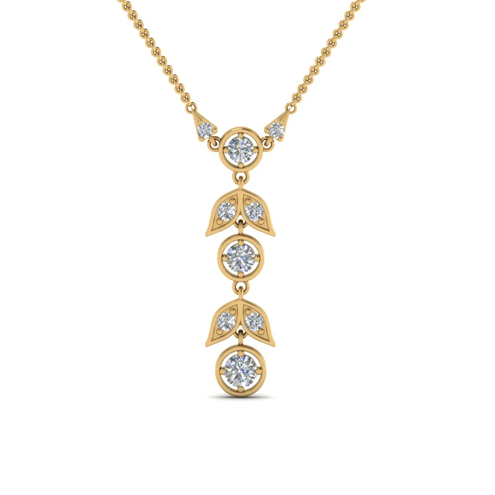 Petal Diamond Drop Necklace In 14K Rose Gold