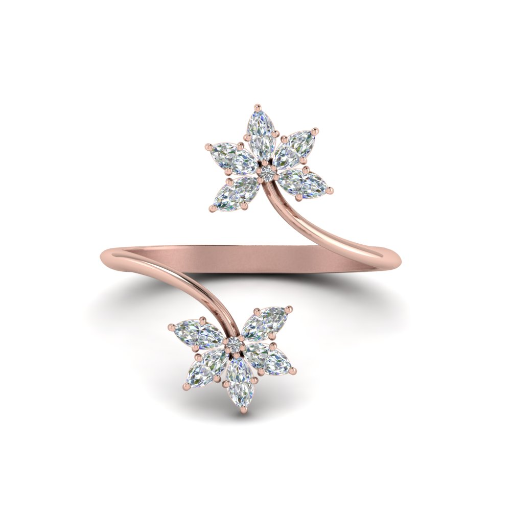 Petal Diamond Open Ring