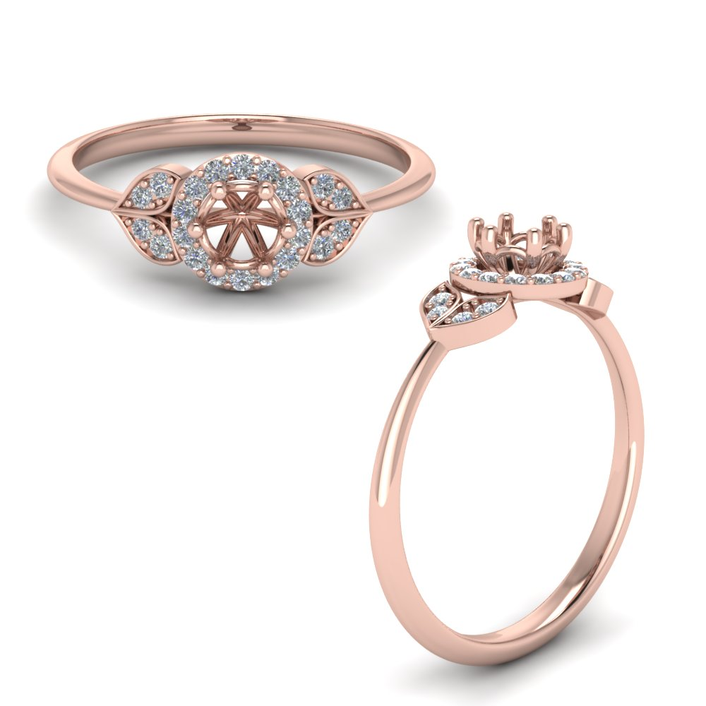 Petal Diamond Semi Mount Engagement Ring In 14K Rose Gold