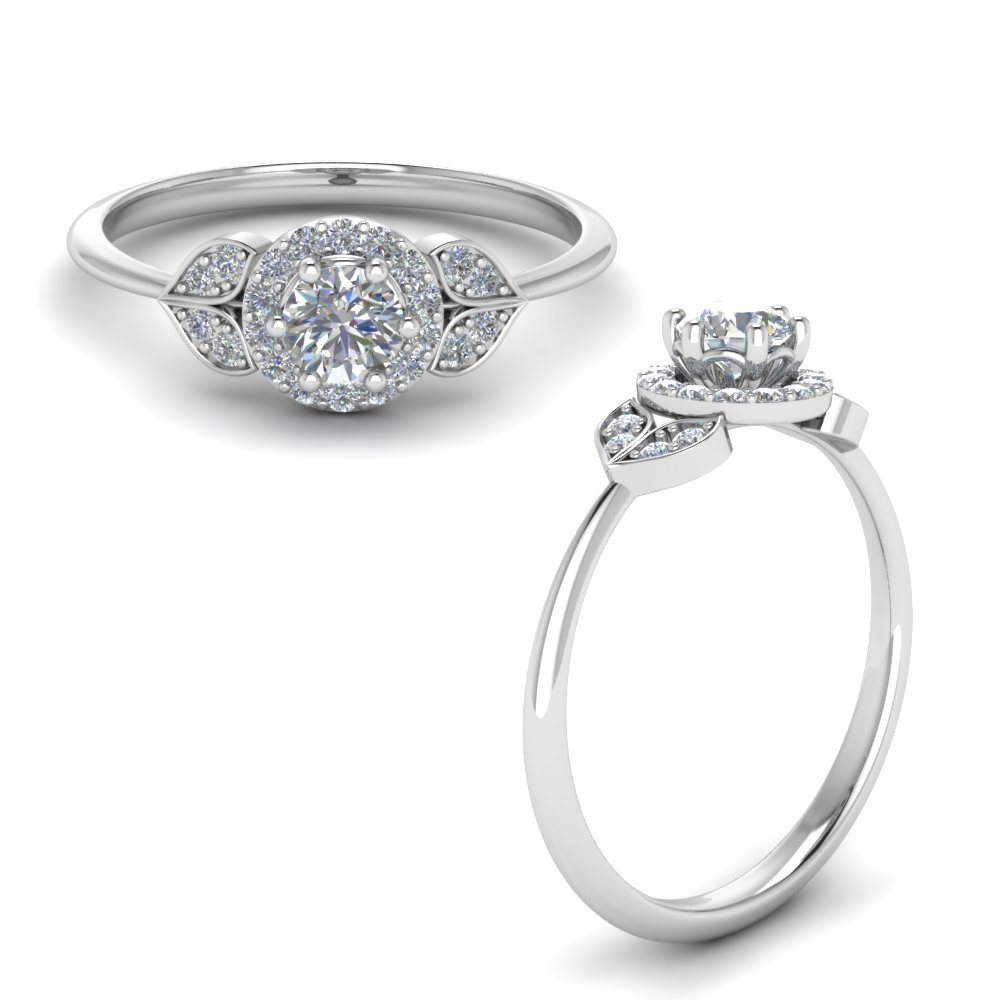 petal halo diamond engagement ring in FD8629RORANGLE1 NL WG