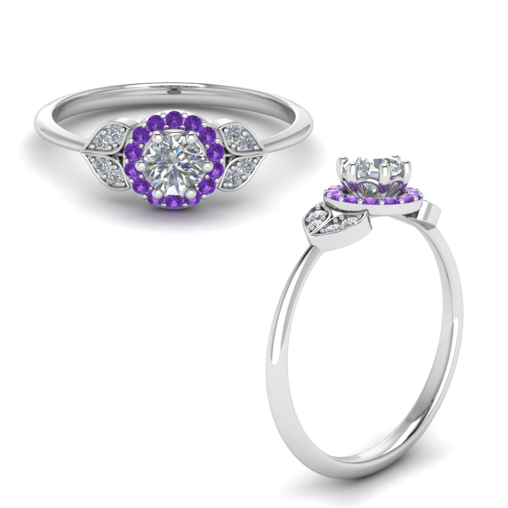 petal halo diamond engagement ring with purple topaz in FD8629RORGVITOANGLE1 NL WG