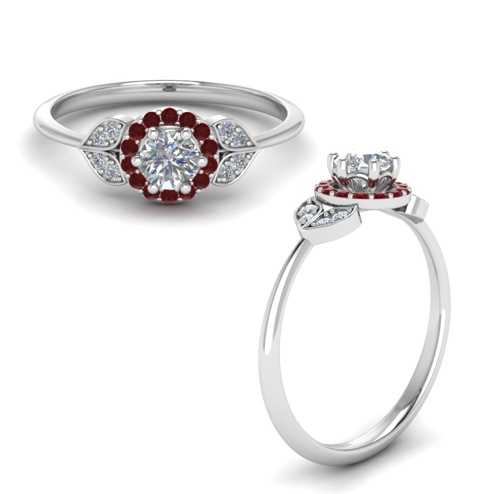 petal halo diamond engagement ring with ruby in FD8629RORGRUDRANGLE1 NL WG