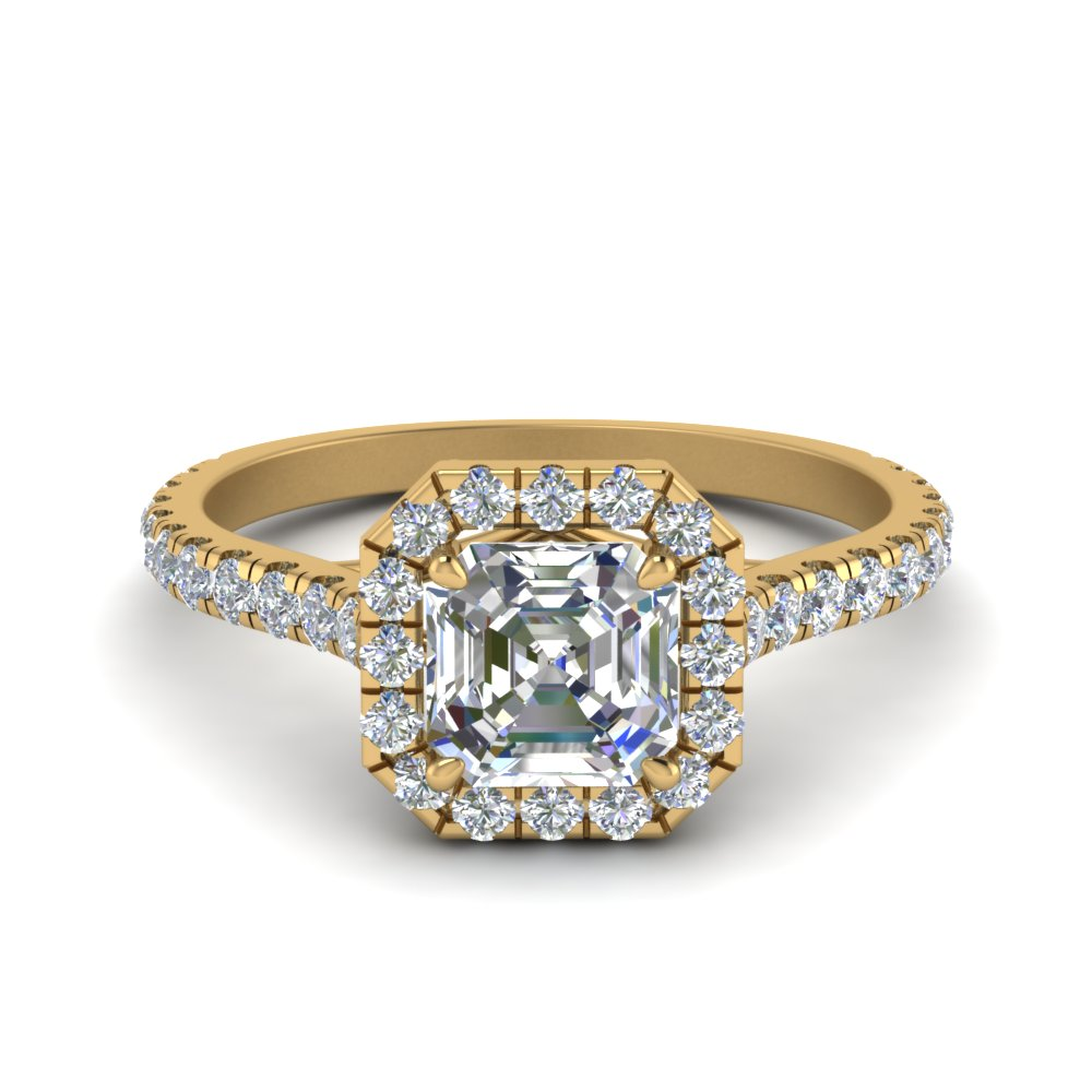 petite asscher cut diamond halo engagement ring in FD9024ASR NL YG
