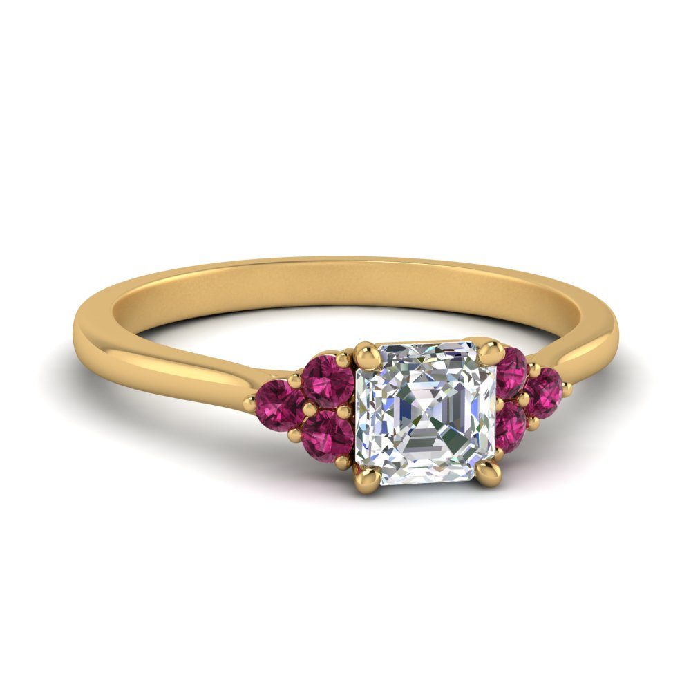 petite cathedral asscher cut diamond engagement ring with pink sapphire in FD9275ASRGSADRPI NL YG