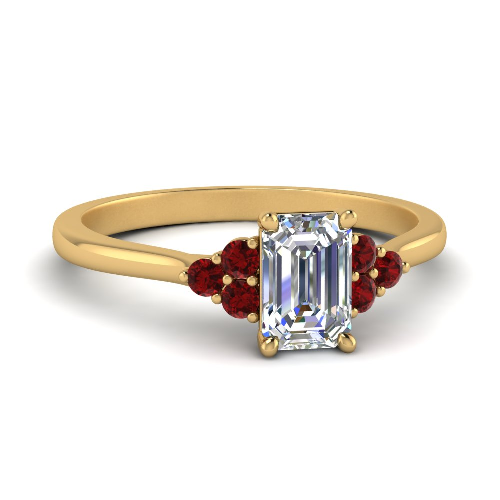 petite cathedral emerald cut diamond engagement ring with ruby in FD9275EMRGRUDR NL YG