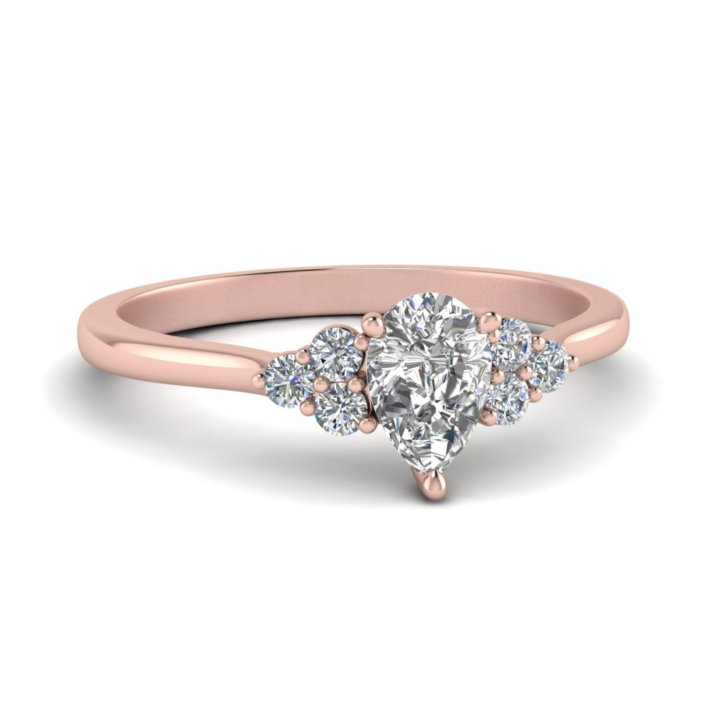 petite cathedral pear shaped diamond engagement ring in FD9275PER NL RG