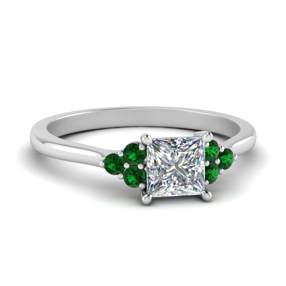 petite cathedral princess cut diamond engagement ring with emerald in FD9275PRRGEMGR NL WG