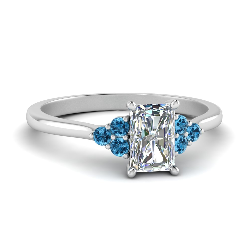 petite cathedral radiant cut diamond engagement ring with blue topaz in FD9275RARGICBLTO NL WG