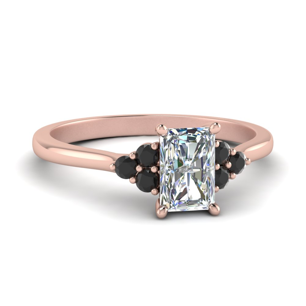 petite cathedral radiant cut engagement ring with black diamond in FD9275RARGBLACK NL RG