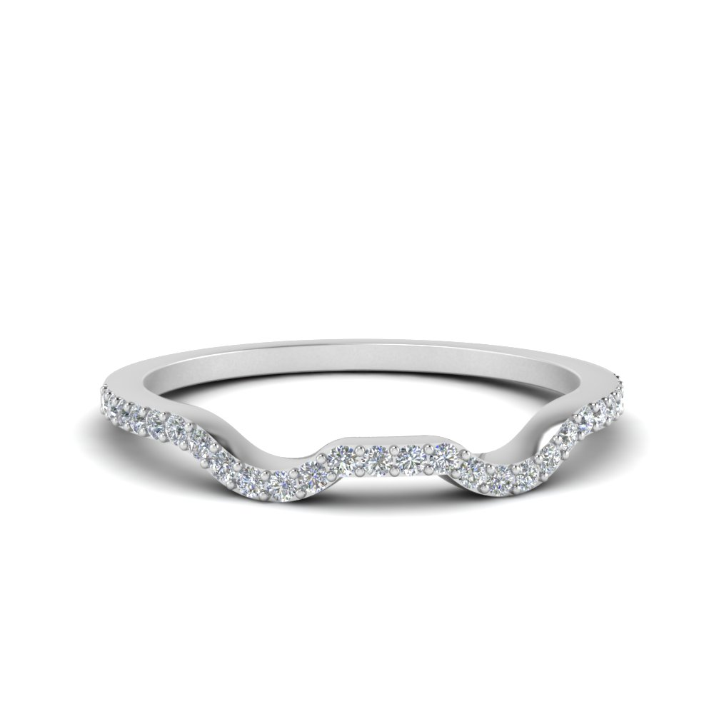 Petite Contour Diamond Wedding Band In 14K White Gold